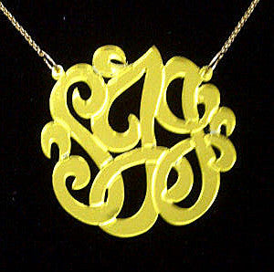 Mirrored Gold Acrylic Monogram Necklace