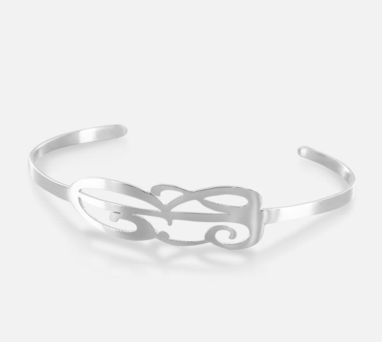 Personalized Cuff Bracelet With Initial Alternate 1