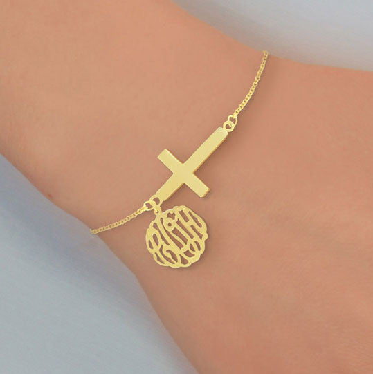 Monogram And Sideways Cross Bracelet 1