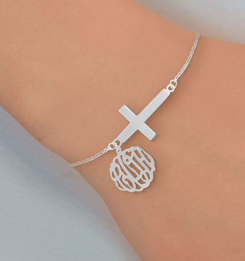 Monogram And Sideways Cross Bracelet 1 Alternate 1