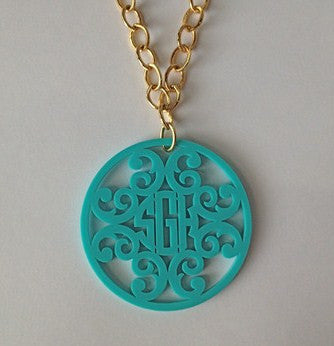 Extra Large Acrylic Rimmed Filigree Monogram Necklace