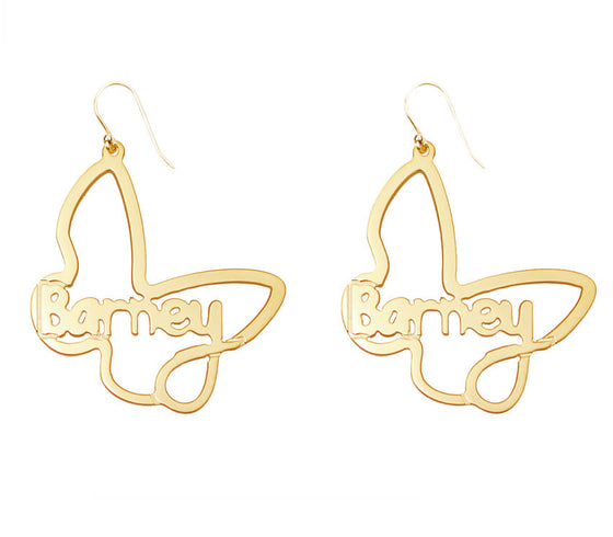 Butterfly Rimmed Name Earrings