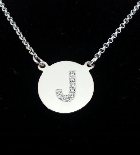 Engraved Sterling Silver Cz Initial Necklace