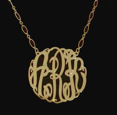 gold monogram necklace long and short chain