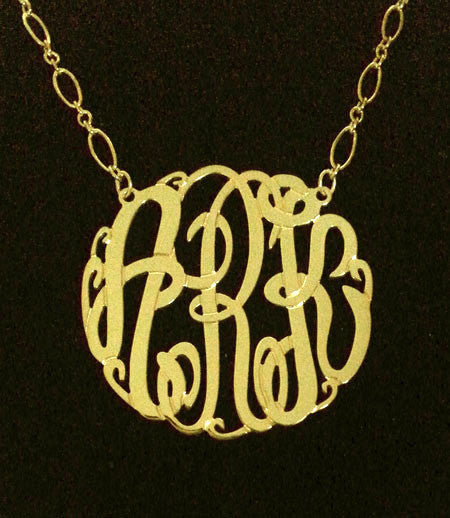 Gold Big Slim Monogram Necklace Long And Short Chain