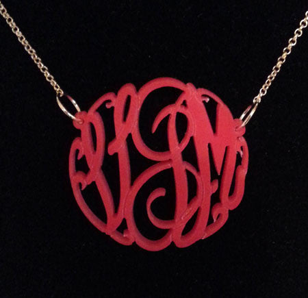 Red Acrylic Monogram Neckalce Big Slim