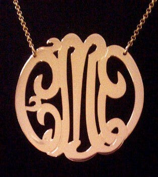 Large Rose Gold Monogram Necklace