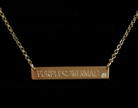 Engraved Gold Horizontal Bar Necklace With Birthstone