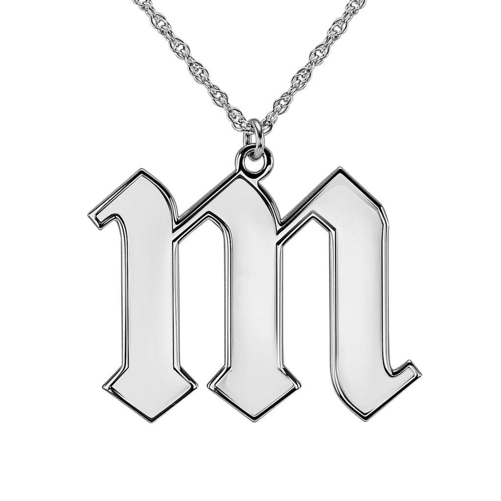 Silver Gothic Initial Necklace