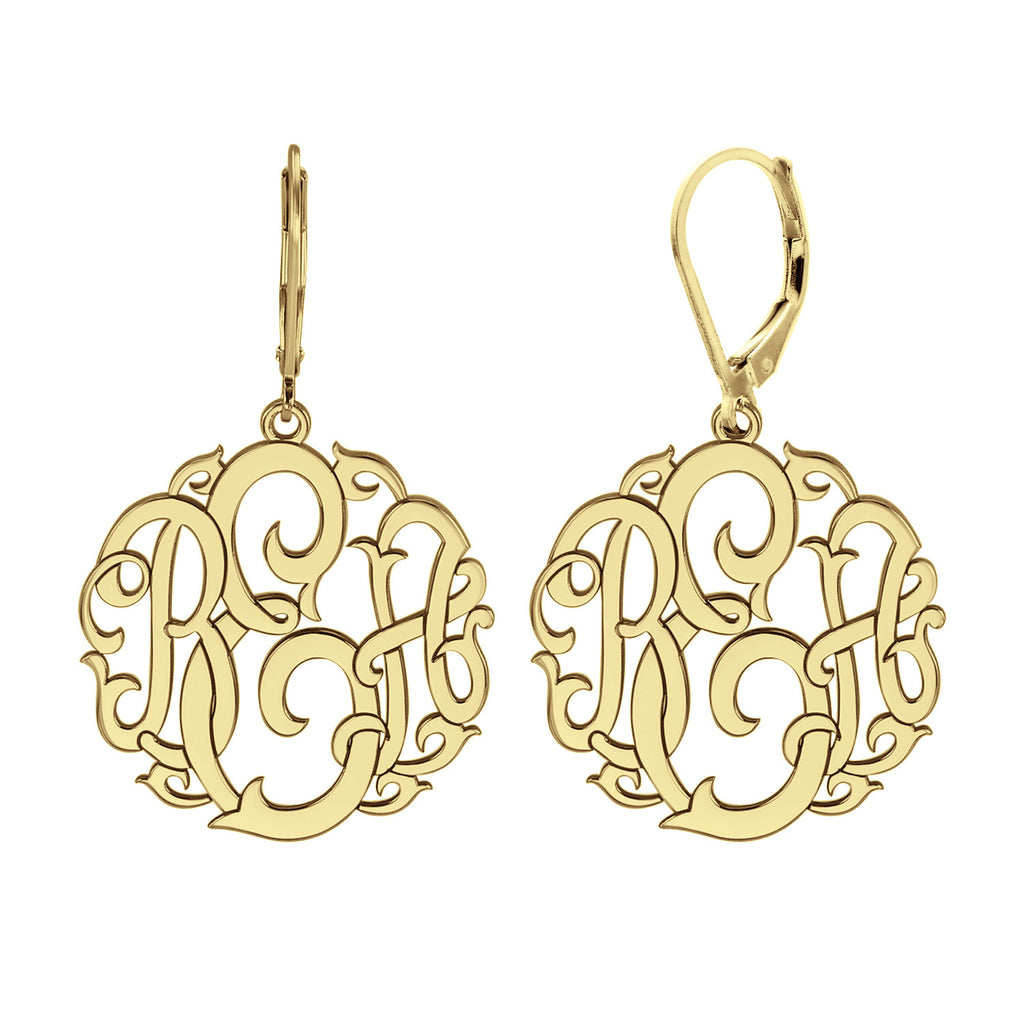 Vine Monogram Leverback Earrings Alternate 1