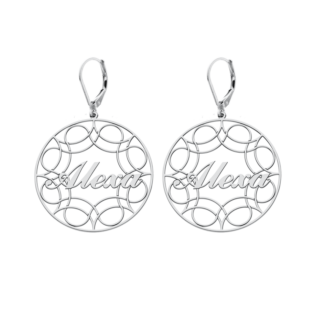 Sterling Silver Ribbon Hoop Name Earrings