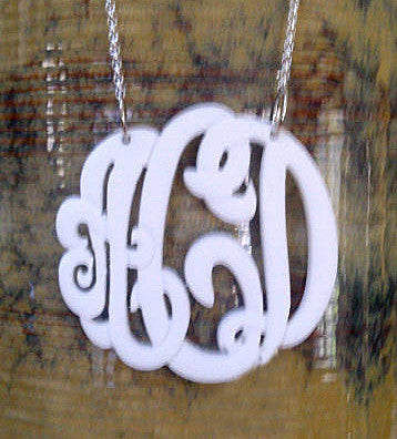 White Acrylic Monogram Necklace