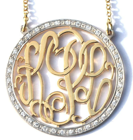 Gold Cz Round Rimmed Monogram Necklace
