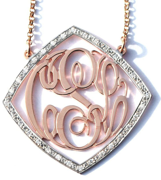 Gold Cz Rimmed Monogram Necklace Diamond Shape