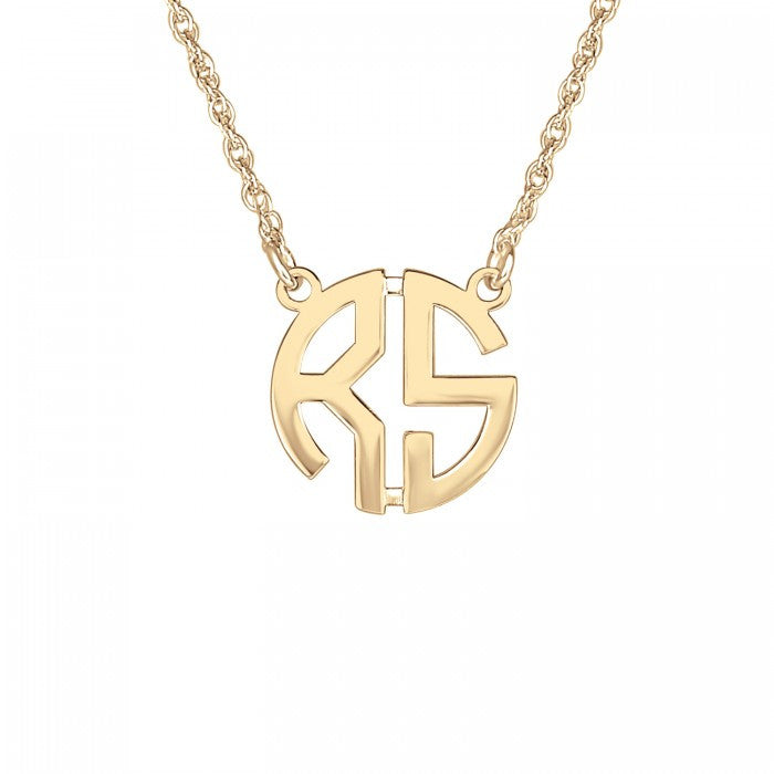 Gold Mini Monogram Necklace   Two Initial