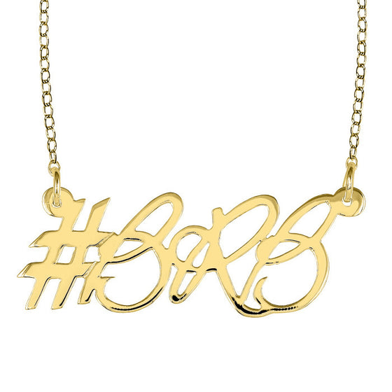Gold Personalized Script Hashtag Necklace 1