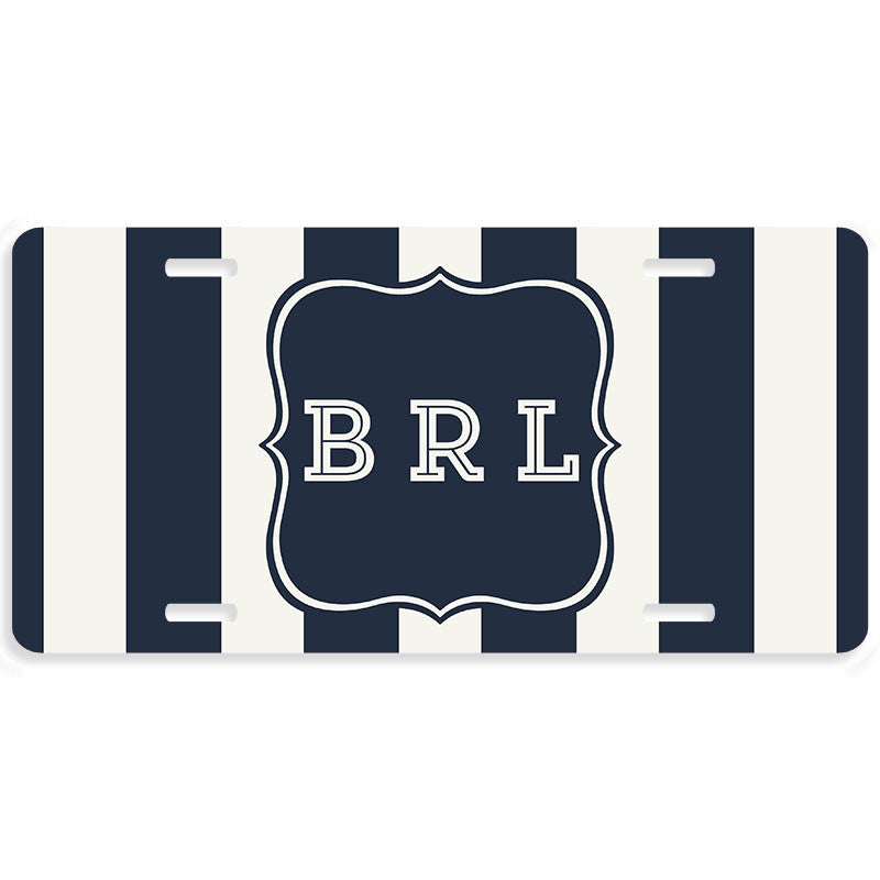 Monogrammed Stripe License Plate