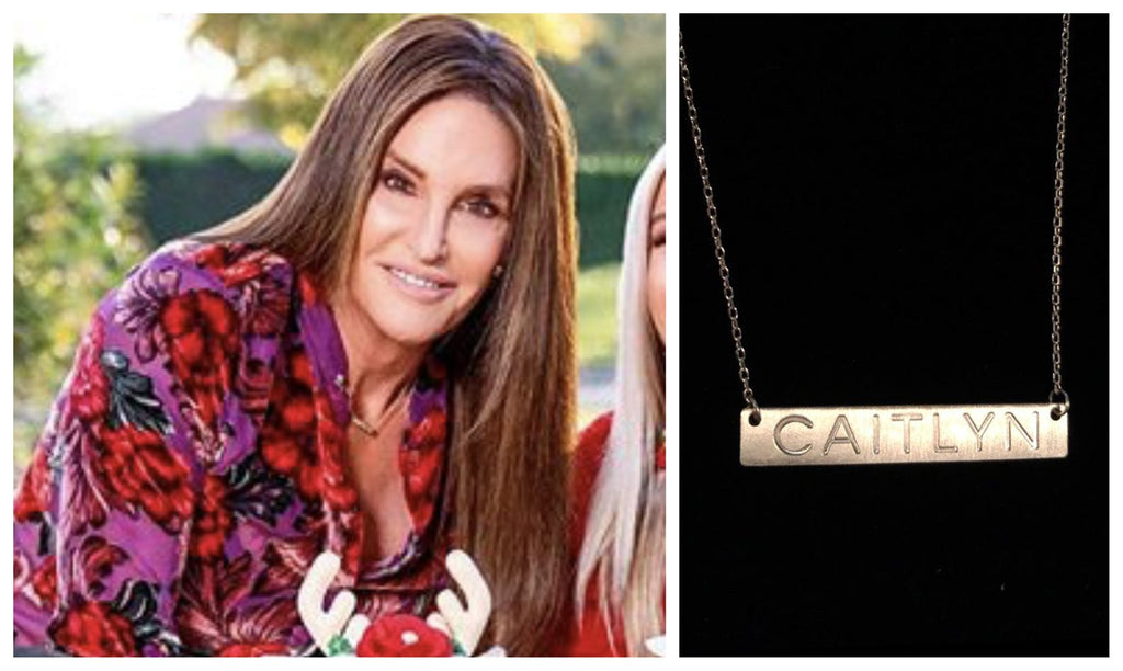 Caitlyn Jenner Engraved Gold Bar Necklace