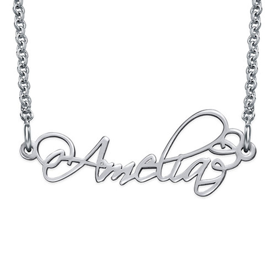 Small Sterling Silver Calligraphy Nameplate Necklace