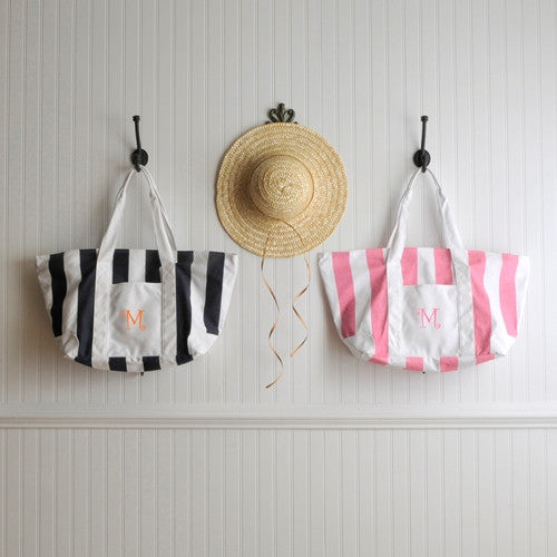 Monogram Beach Tote Bag - Candy Stripe