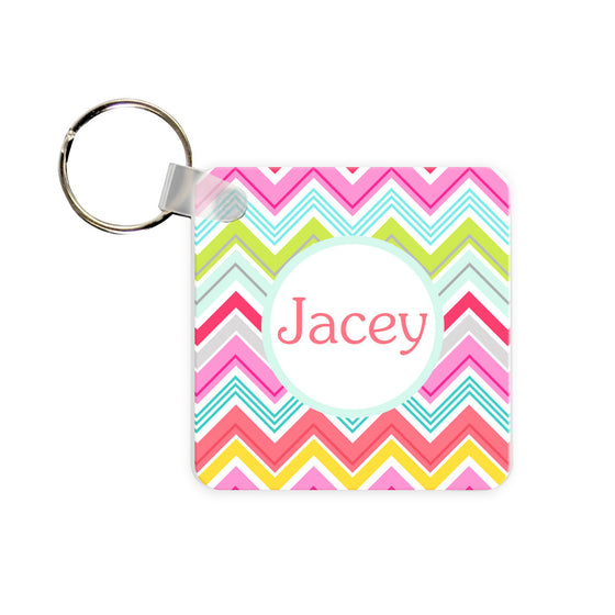 Monogram Key Chain - Chevron Multi