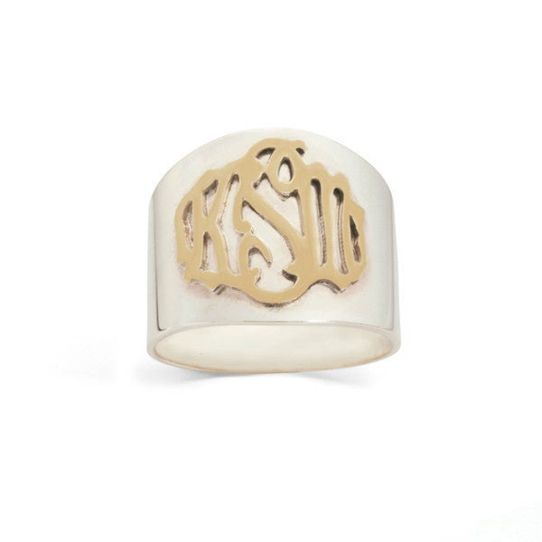 Sterling Silver Monogram Cuff Ring with Gold Monogram