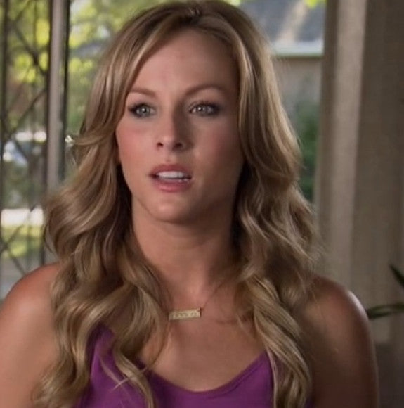 "Clare Crowley Of The Bachelor Wearing A Gold Bar Necklace, Inscribed With ""Creer"""