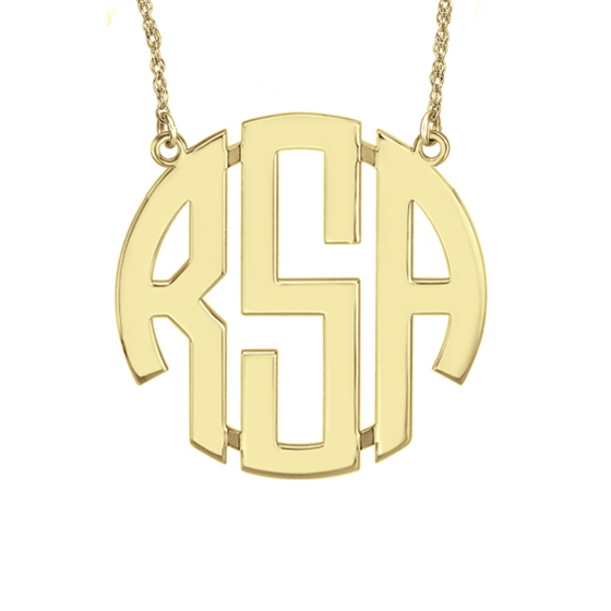 Classic Block Monogram Necklace