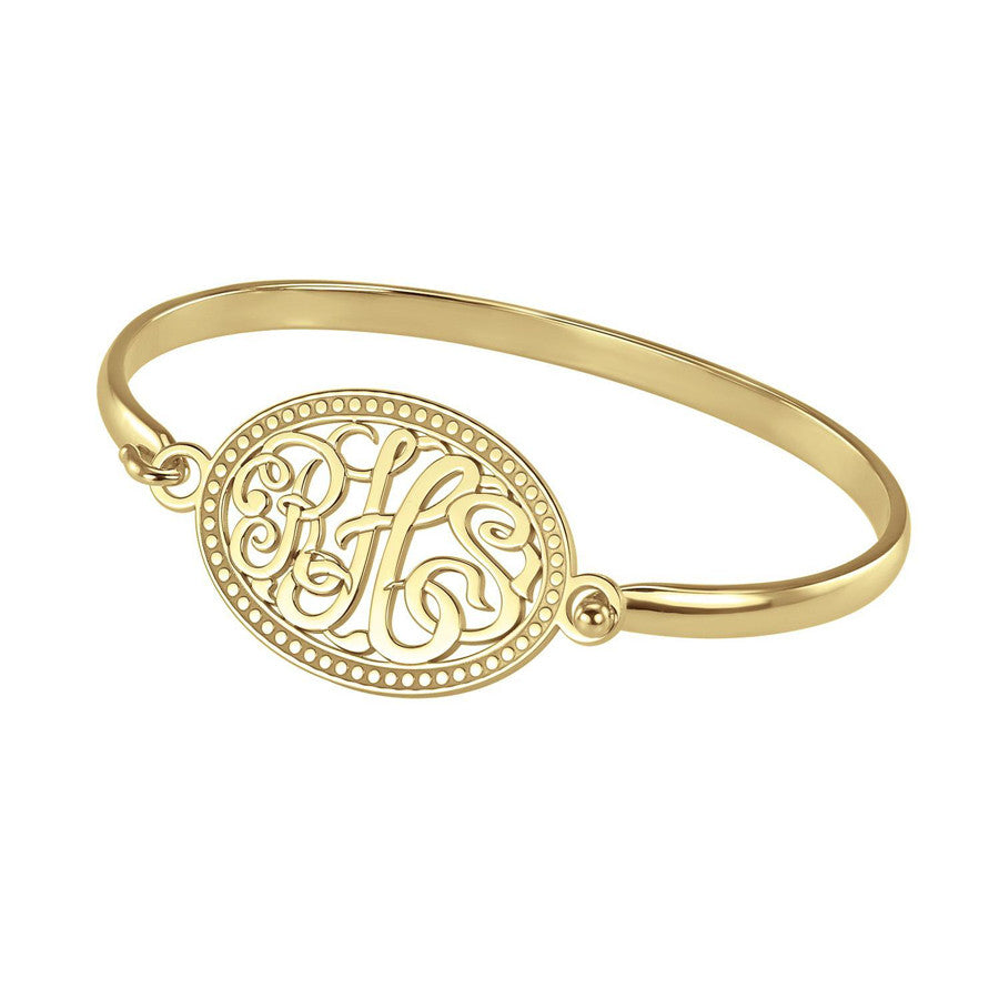Monogram Bangle Bracelet - Classic Oval Bead Border 2