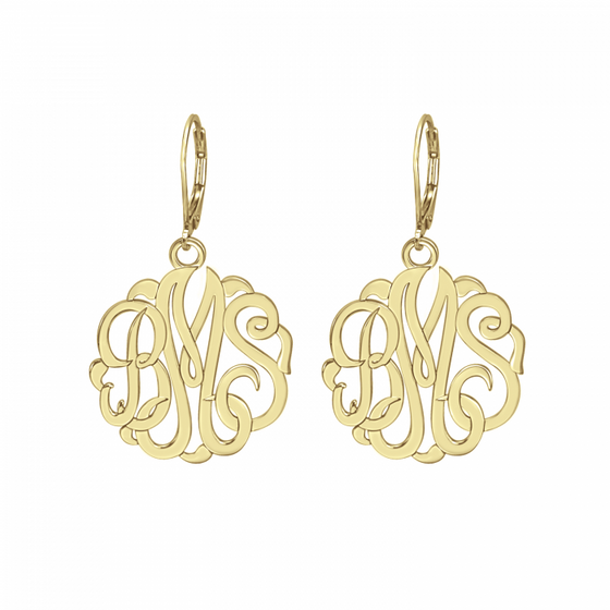 Classic Monogram Earrings - Leverback