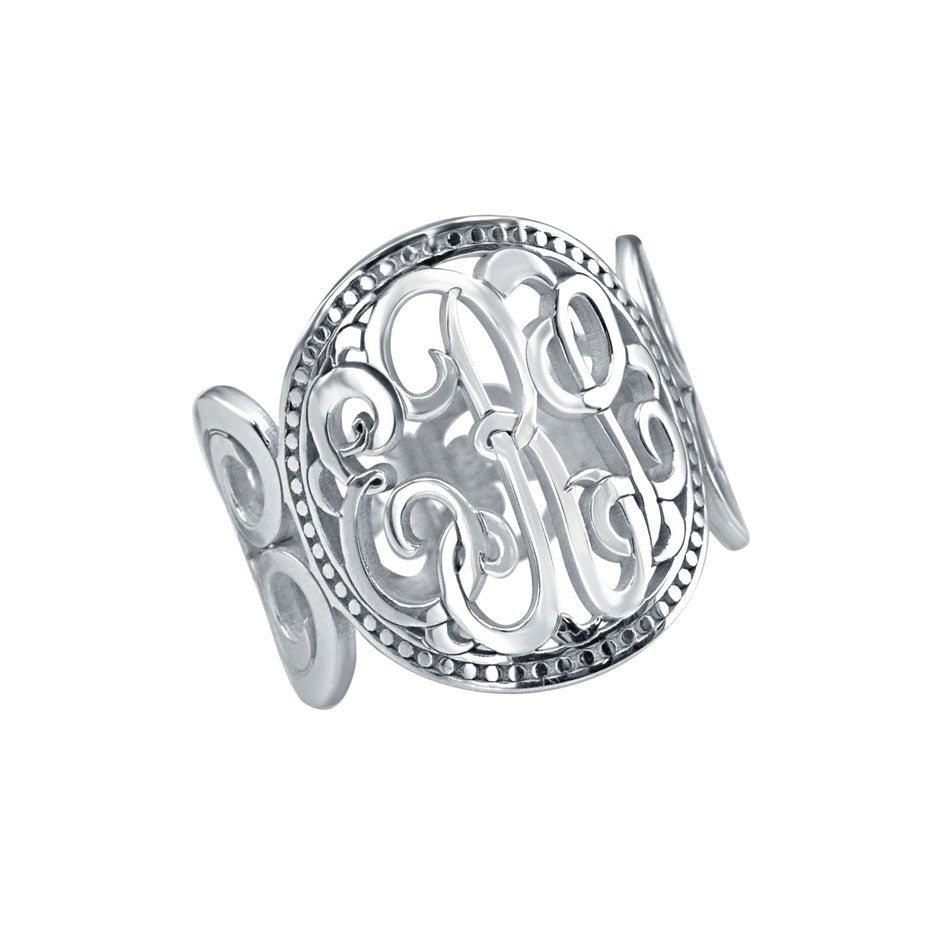10K Gold Classic Rimmed Monogram Ring 4