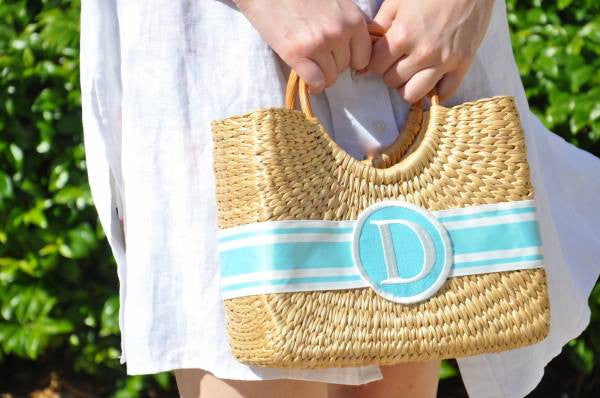 Monogrammed Cocktail Hyannisport Straw Basket Bag