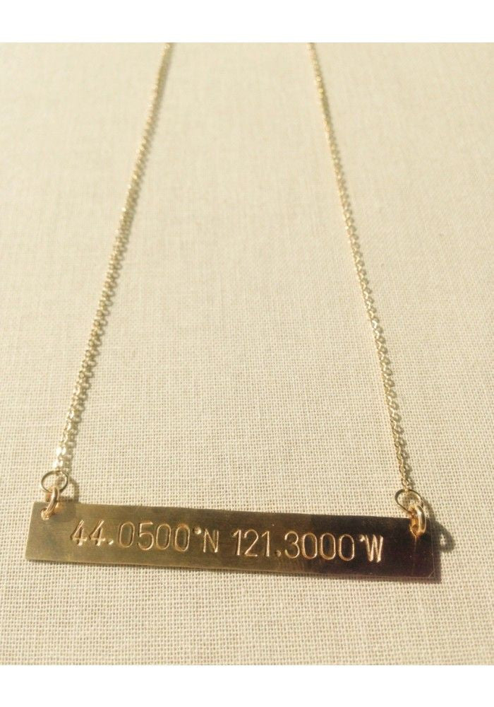 Hand Stamped Identity Coordinates Necklace