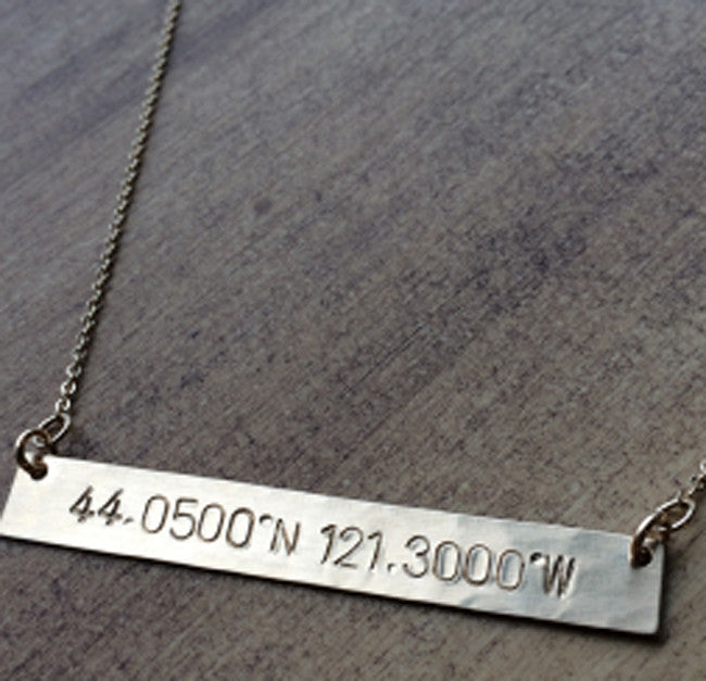 Hand Stamped Identity Coordinates Necklace 3