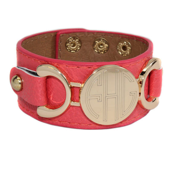 monogram-leather-cuff-bracelet-coral
