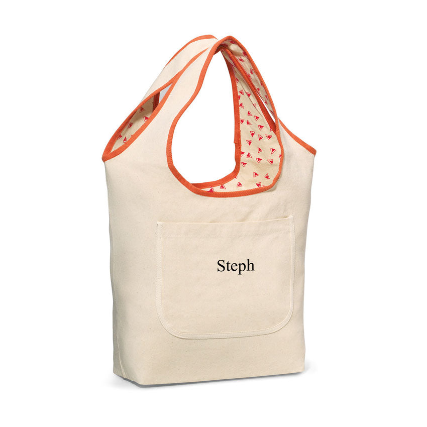 Reversible Monogram Tote Bag - 2 Colors / coral
