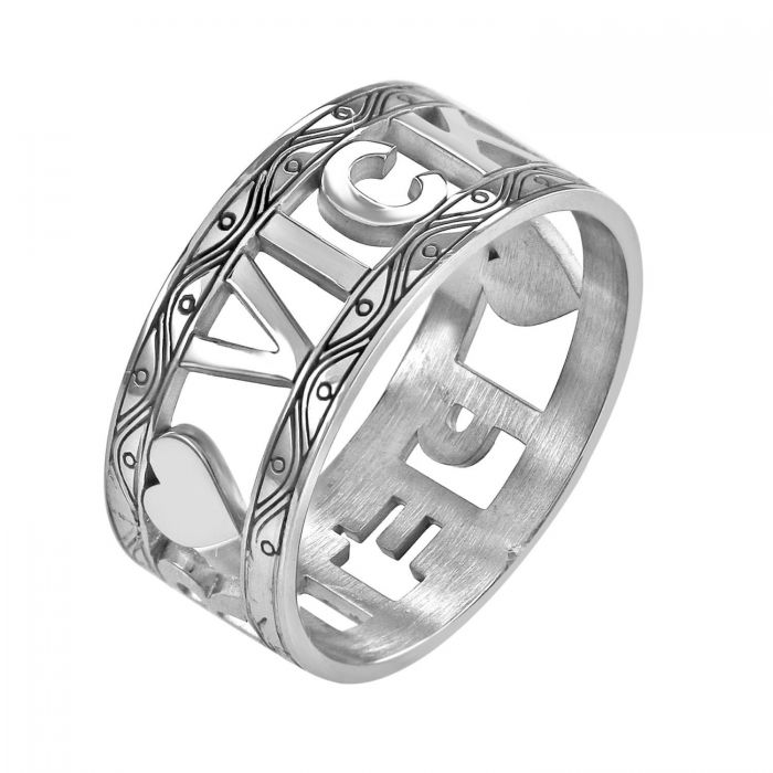 Personalized Decorated Border Couples Ring 2
