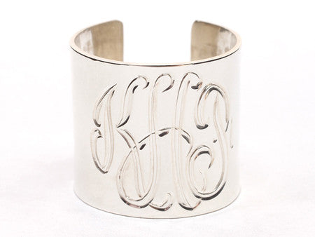 Sterling Silver Monogrammed Cuff Ring