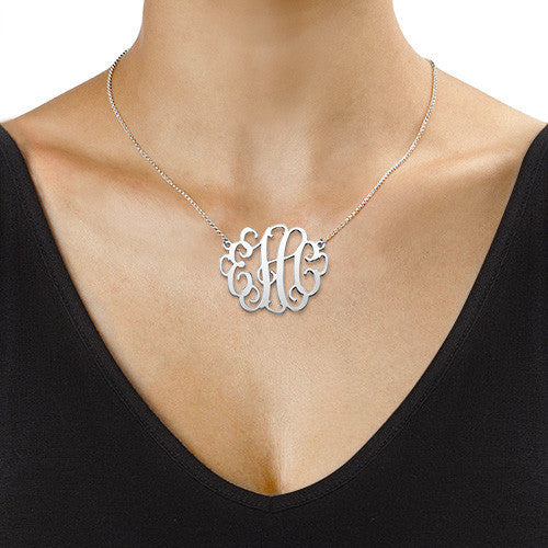 Silver Curly Script Monogram Necklace - Large size