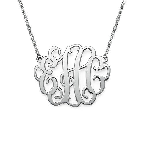 Silver Curly Script Monogram Necklace