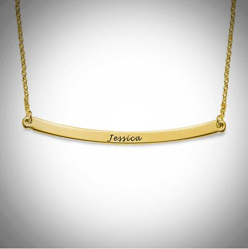Personalized Engraved Gold Bar Necklace 3
