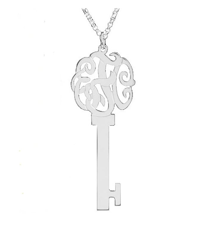 Sterling Silver Monogram Skeleton Key Necklace 3