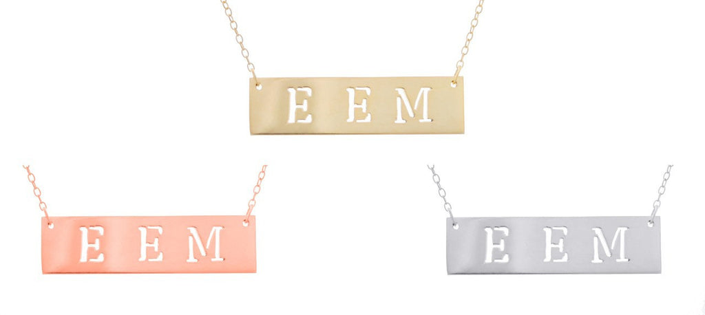Cutout Name Bar Necklace 3
