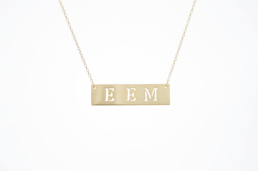 Cutout Name Bar Necklace