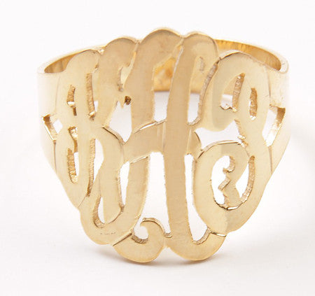 Personalized 14K Gold Vermeil Cutout Monogram Ring