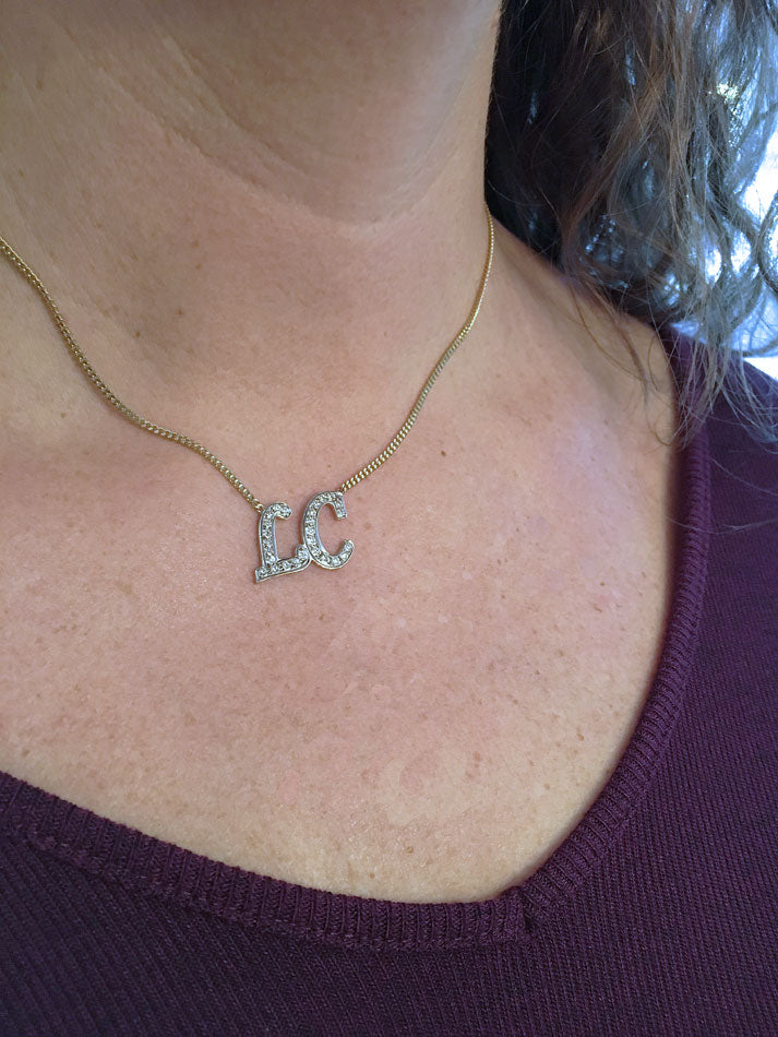 CZ Two Initial Necklace 4