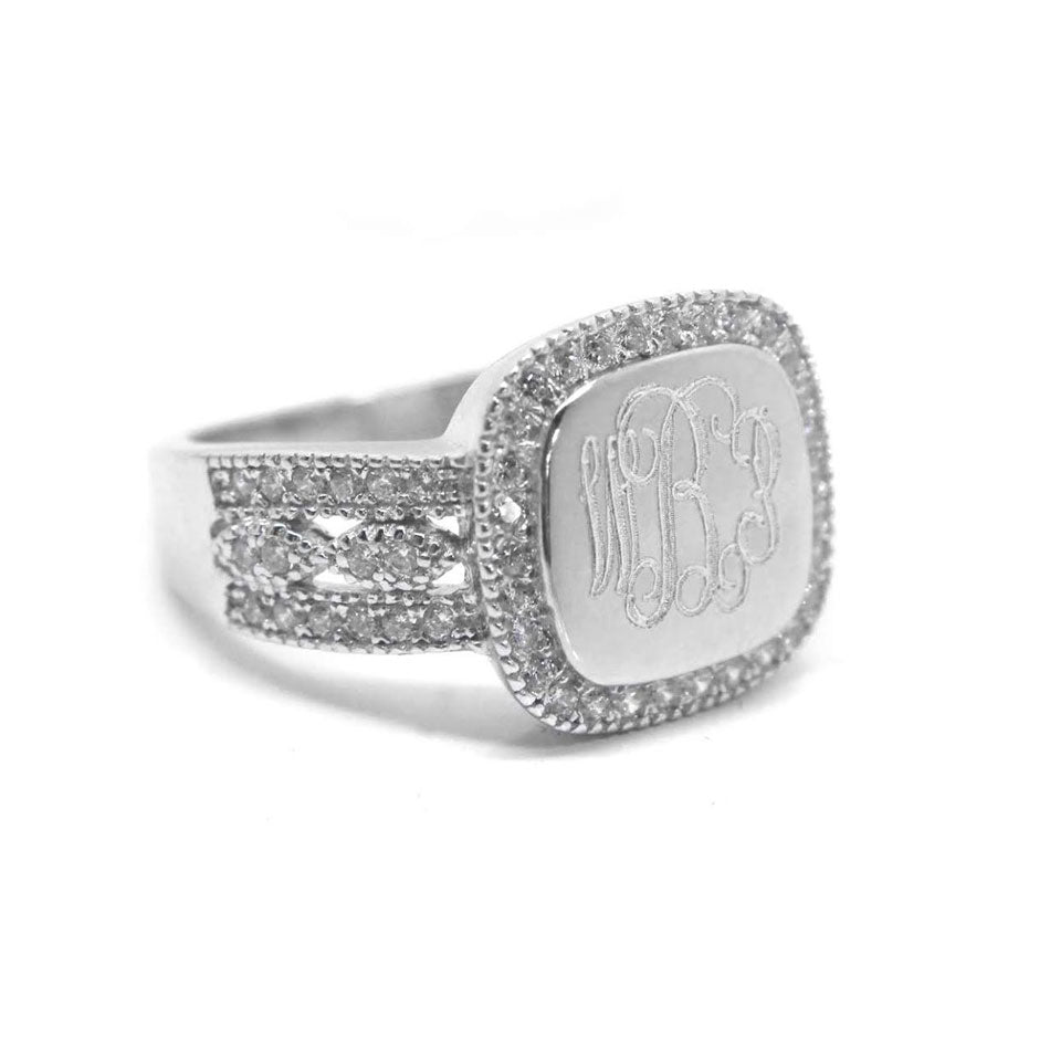 Sterling Silver Fancy Square CZ Monogram Ring