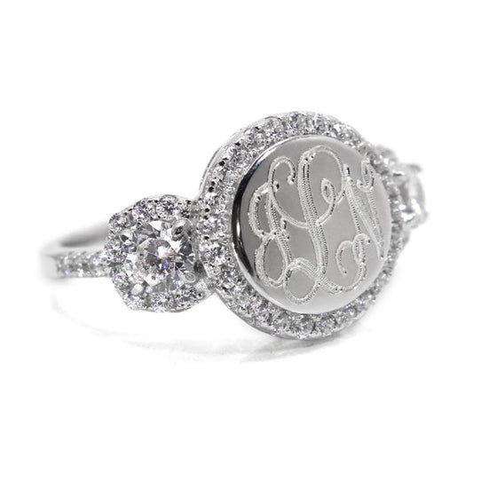 Sterling Silver Round CZ Rimmed Monogram Ring with Ornate Band