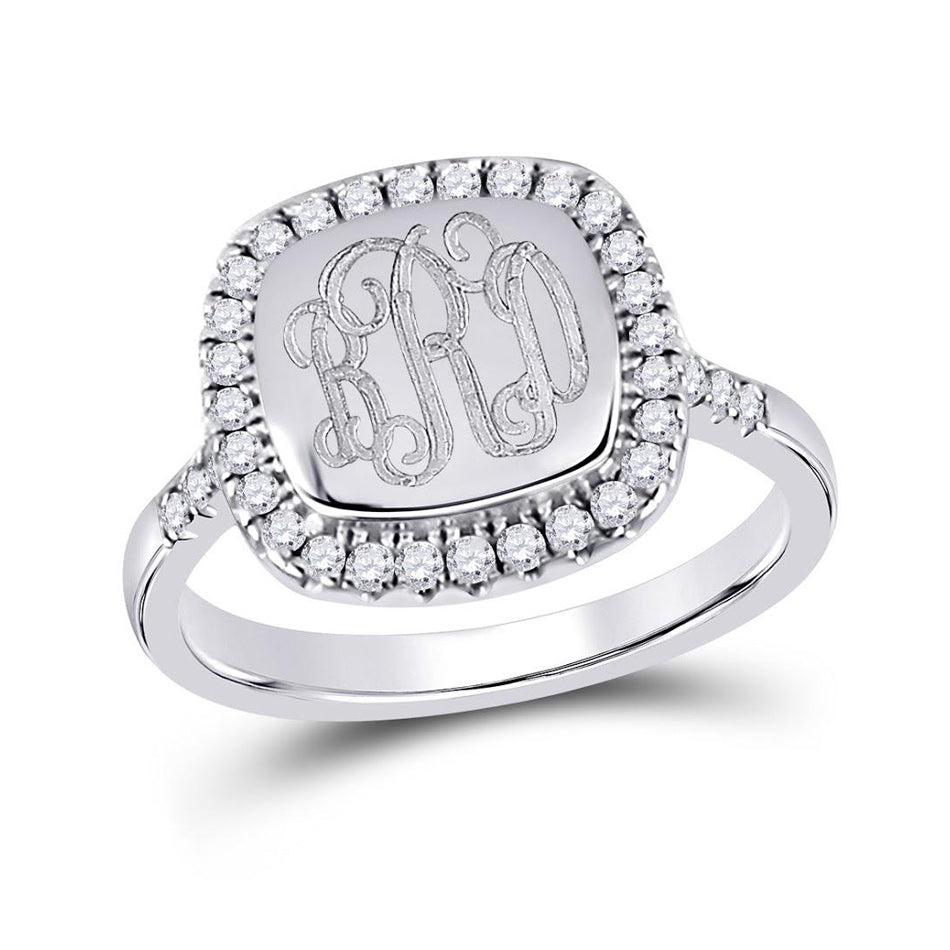 Square CZ Rimmed Monogram Ring