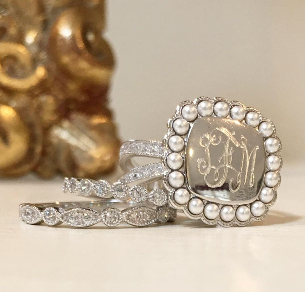 Silver CZ and Pearl Rimmed Monogram Stacking Ring 6